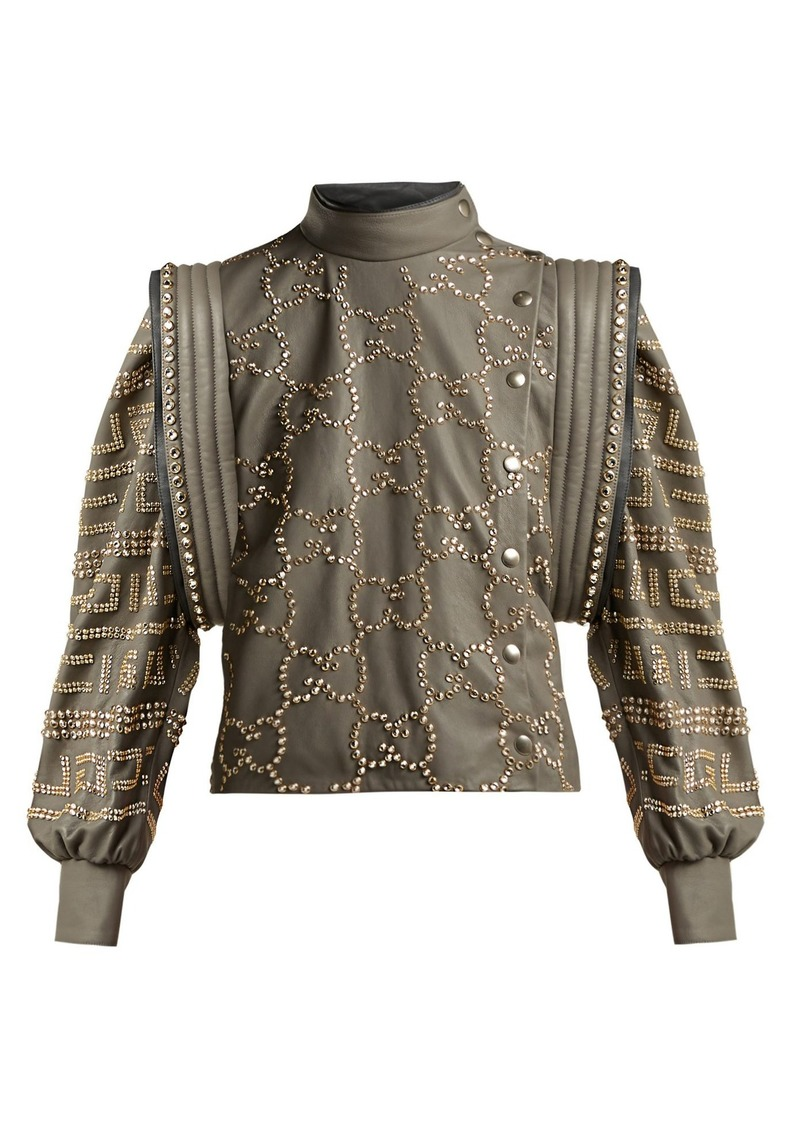 0c58bf3bdf3 Gucci Gucci Crystal-embellished leather jacket