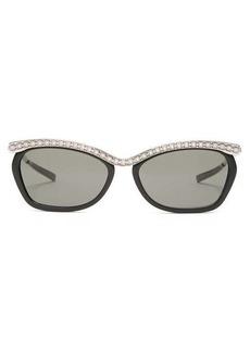 Gucci Crystal-embellished rectangular acetate sunglasses