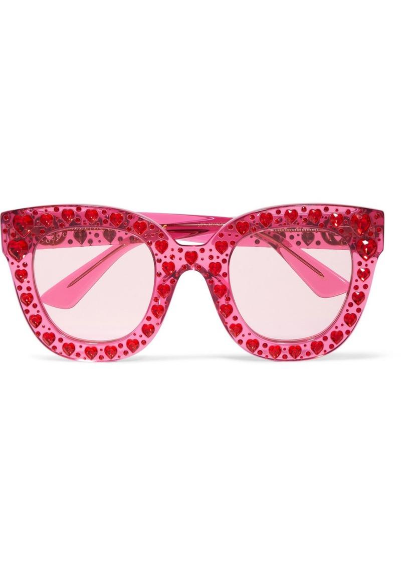 1eaf306032 Gucci Crystal-embellished Square-frame Acetate Sunglasses