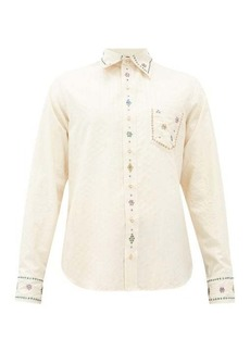 Gucci Crystal-embellished striped cotton shirt
