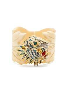 Gucci Crystal-embellished tiger head and leaf cuff
