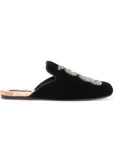 Gucci Crystal-embellished velvet slippers