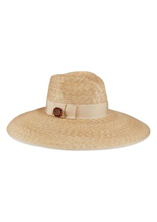 Gucci Crystal Embellished Wide Brim Straw Hat