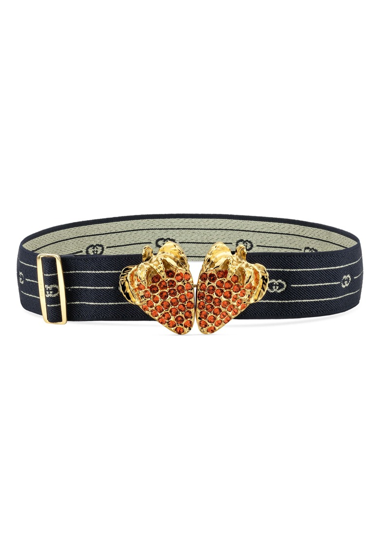 Gucci Crystal Strawberry Logo Stretch Belt