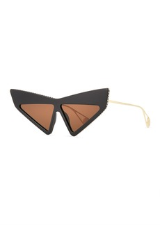 Gucci Crystal Studded Acetate Mask Cat-Eye Sunglasses