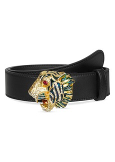 Gucci Crystal Tiger Head Leather Belt