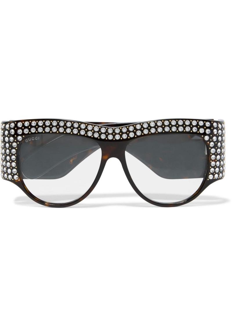 08641f47f7 Gucci Gucci D-Frame crystal-embellished acetate sunglasses