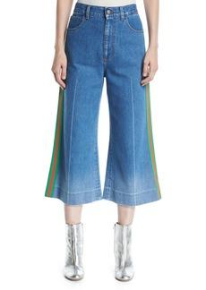 Gucci Denim Web-Trim Culotte Trousers