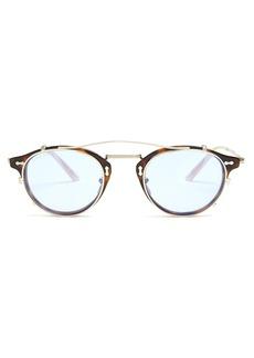 Gucci Detachable-lens round-frame acetate sunglasses