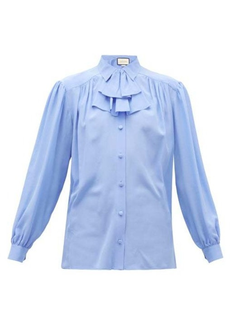 Gucci Detachable-ruffle silk-crepe blouse