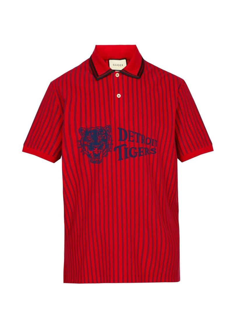 3c3d317d2 Gucci Gucci Detroit Tigers-print cotton-piqué polo shirt | Casual Shirts