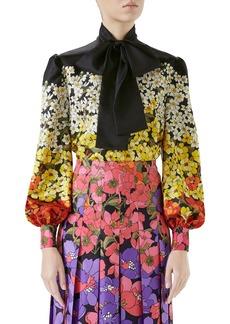Gucci Dégradé Floral Print Silk Tie Neck Blouse