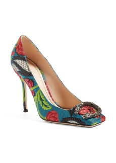 Gucci Dionysus Embellished Square Toe Pump (Women)