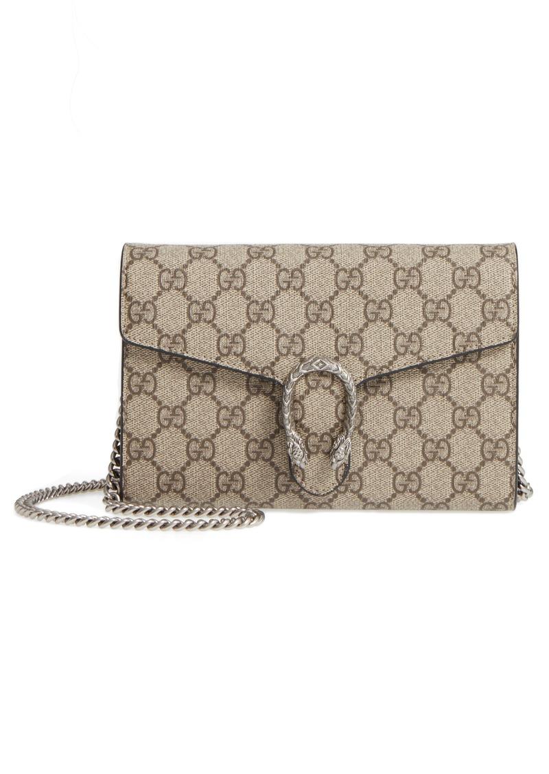 6efe4dd372a Gucci Gucci Dionysus GG Supreme Canvas Wallet on a Chain