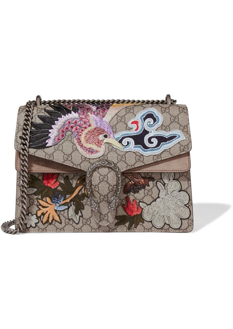 602fb32522d9 Gucci Dionysus medium appliquéd coated-canvas and suede shoulder bag