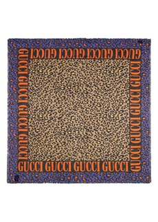 Gucci Disco Leopard & Logo Print Scarf