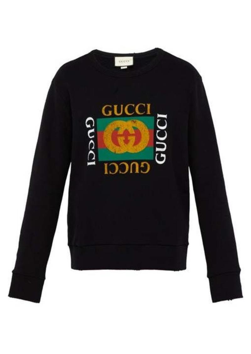 Gucci Distressed-effect logo-print cotton sweatshirt