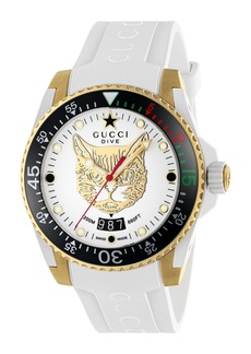 Gucci Diver Cat Rubber Strap Watch, 40mm
