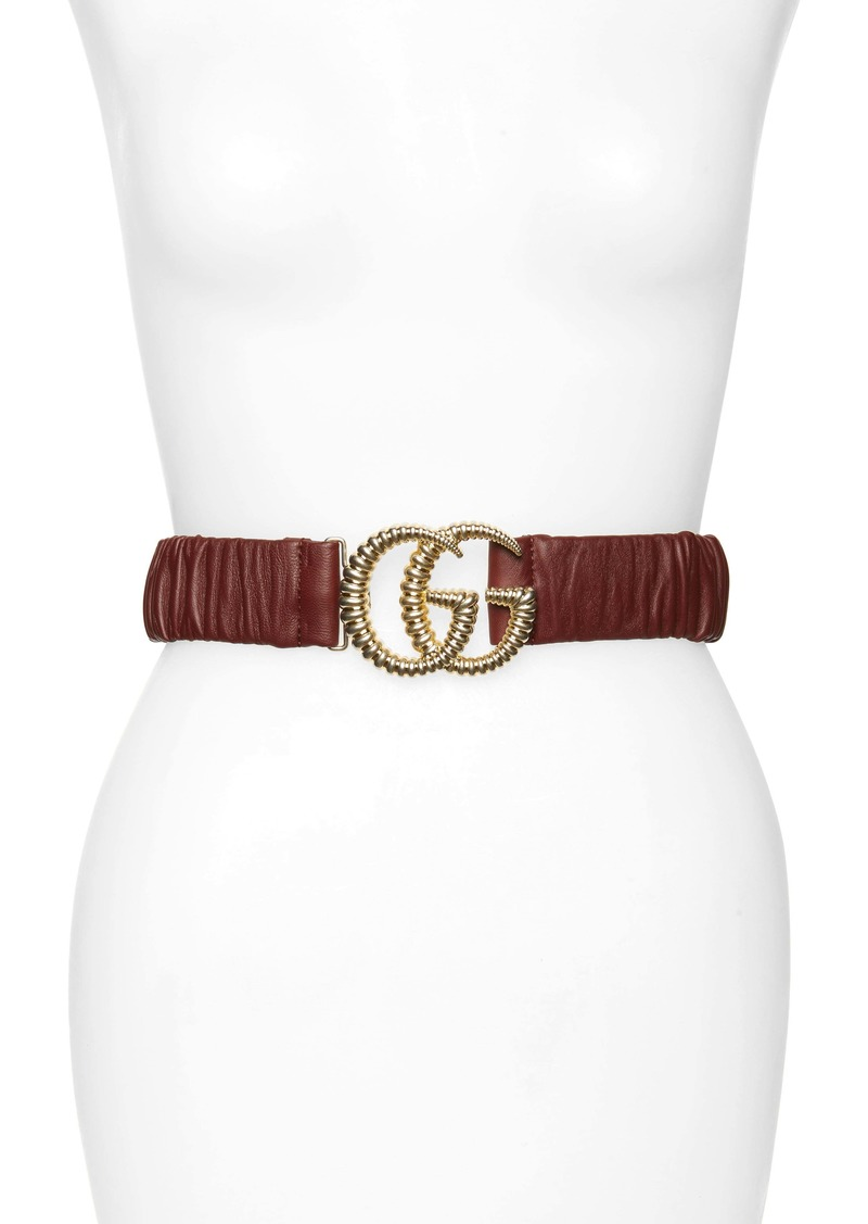 Gucci Double-G Buckle Stretch Leather Belt