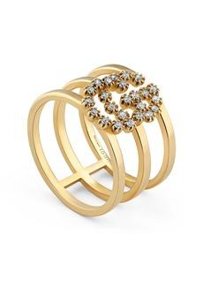 Gucci Double G Diamond Three-Row Ring