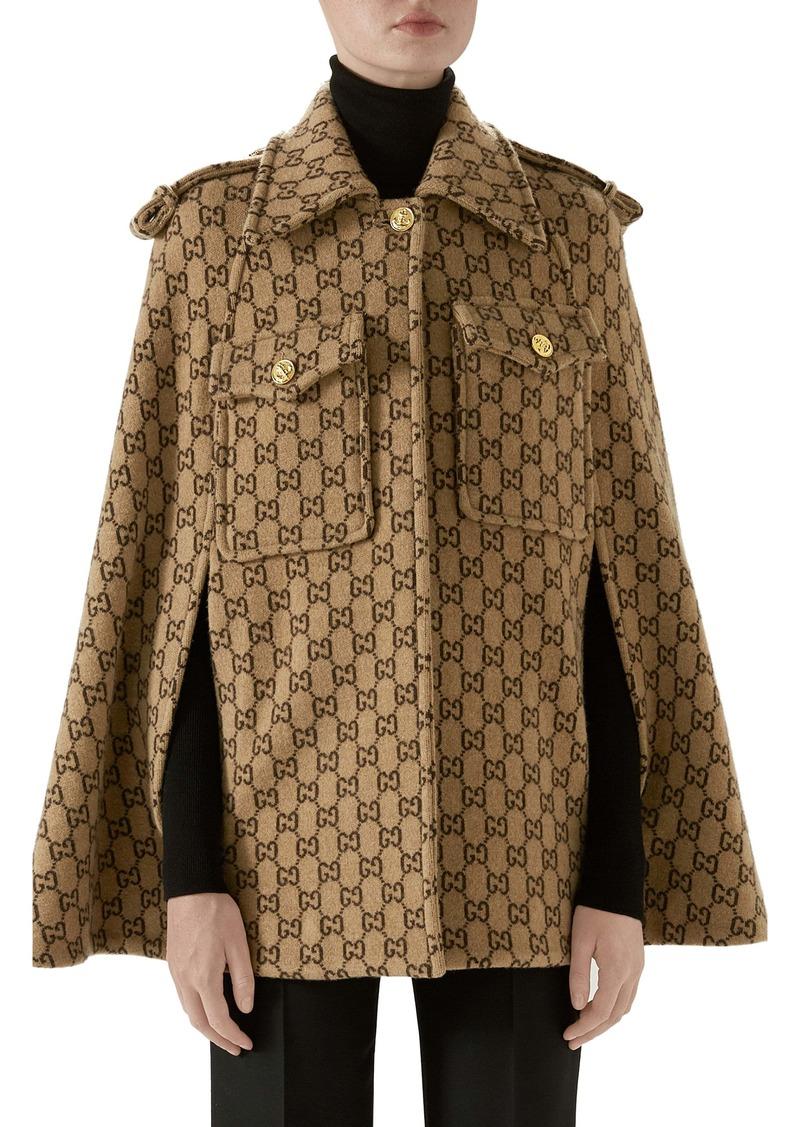 Gucci Double G Monogram Wool Cape