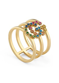 Gucci Double G Multi Stone Three-Row Ring