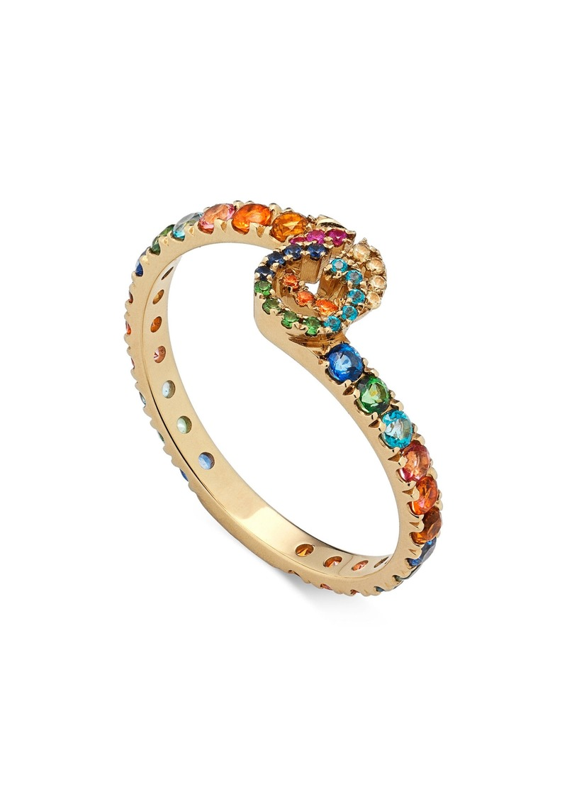 Gucci Double-G Running Gemstone Ring