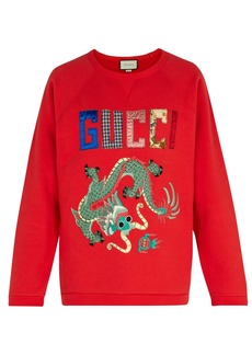 Gucci Dragon-appliqué cotton sweatshirt