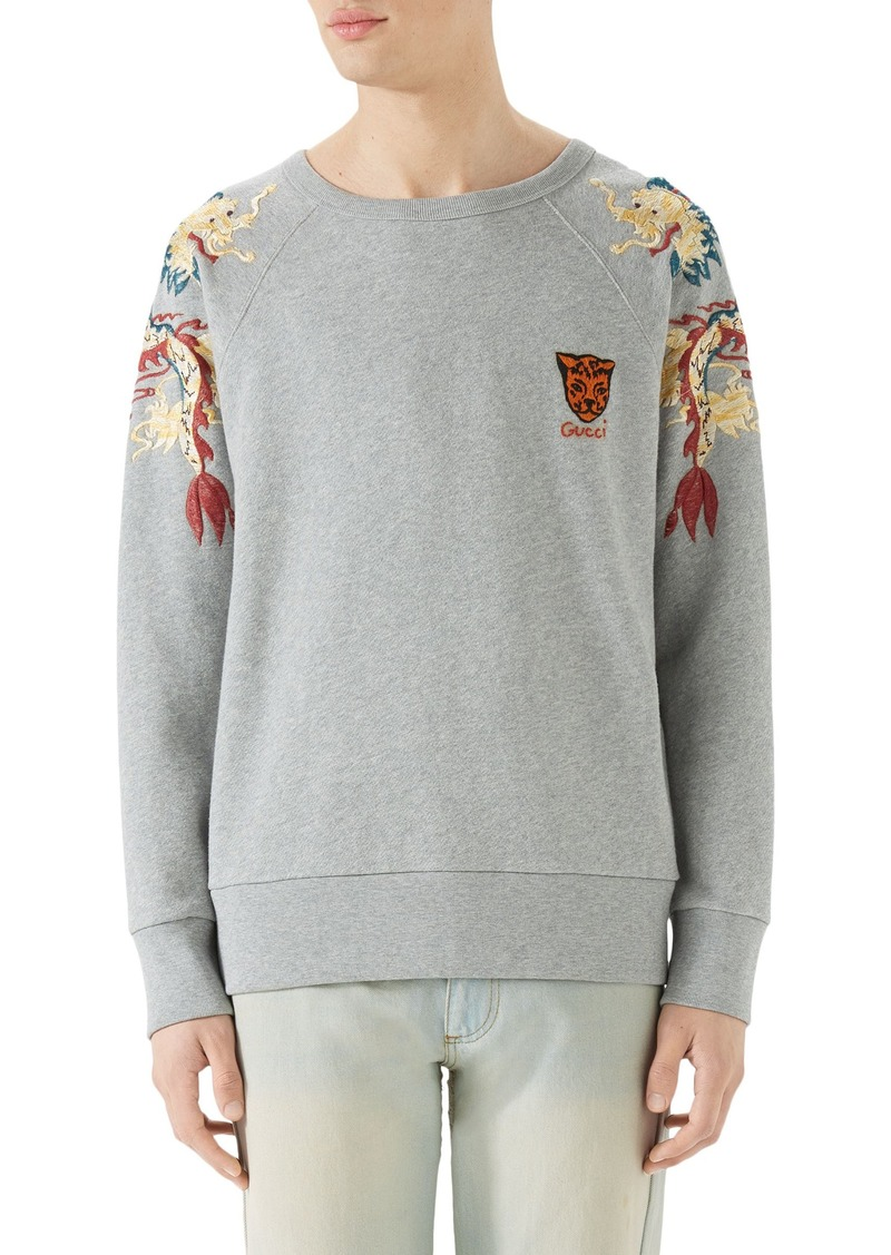 bfb15112d1b Gucci Gucci Dragon Embroidered Crewneck Sweatshirt