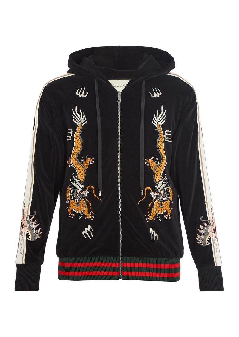 46bf85063 Gucci Gucci Dragon-embroidered hooded velvet sweatshirt | Outerwear