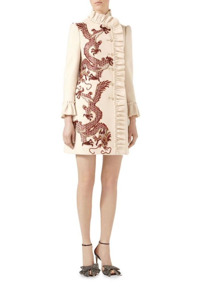 a42772b3 Gucci Dragon-Embroidered Ruffled Wool Coat
