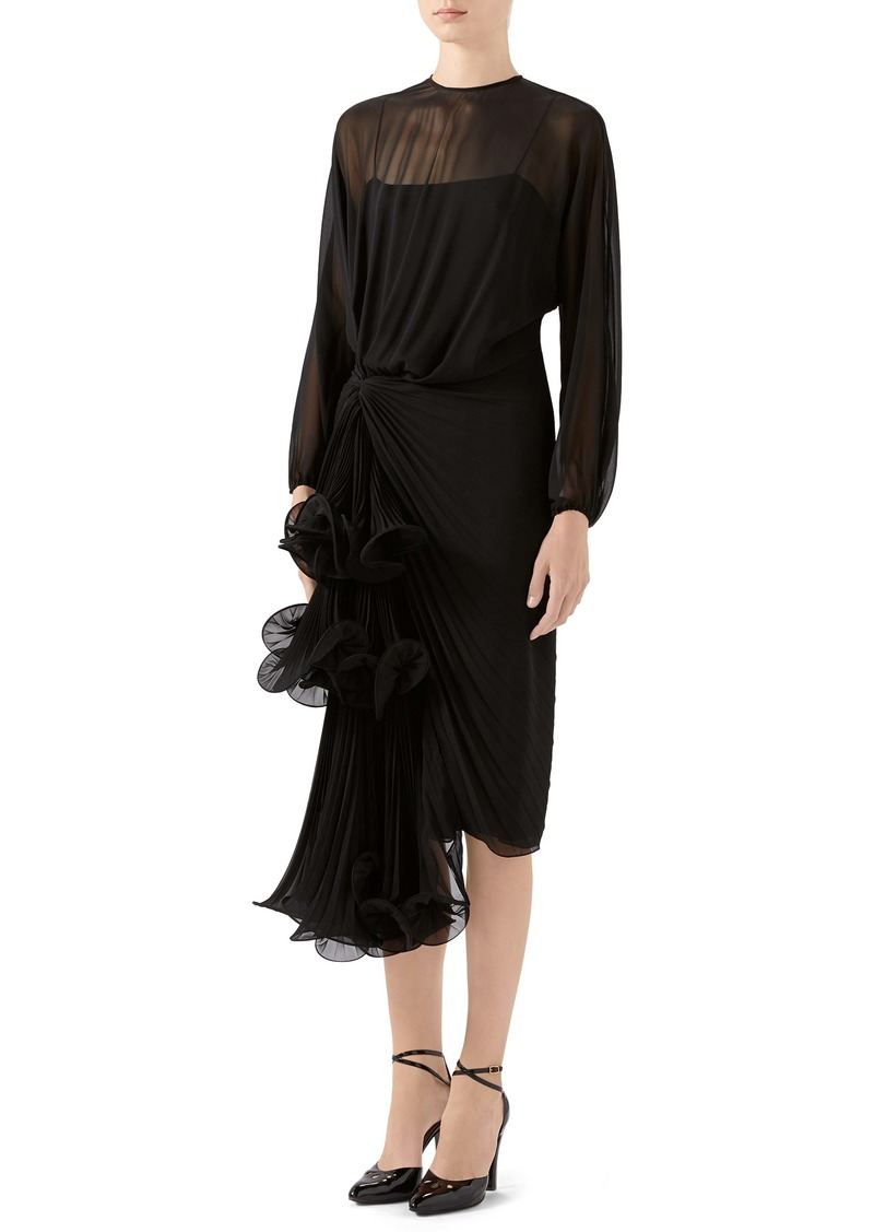 Gucci Draped Silk Georgette Long Sleeve Midi Dress