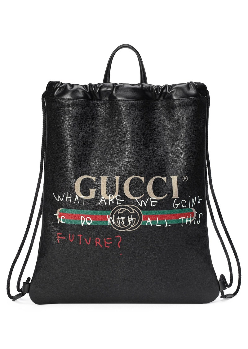 ac564f2115c9 Gucci Gucci Drawstring Leather Backpack   Bags