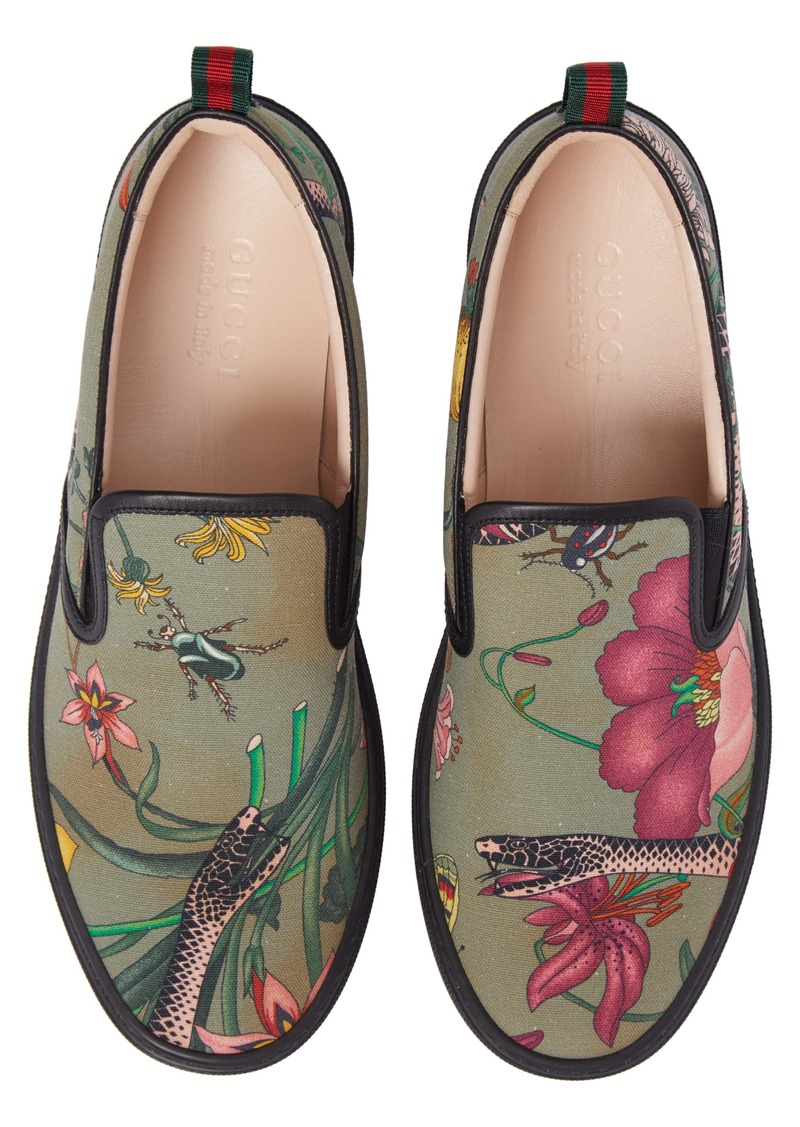 66ad22fb5 Gucci Gucci Flora Snake Slip-On Sneaker (Men) | Shoes