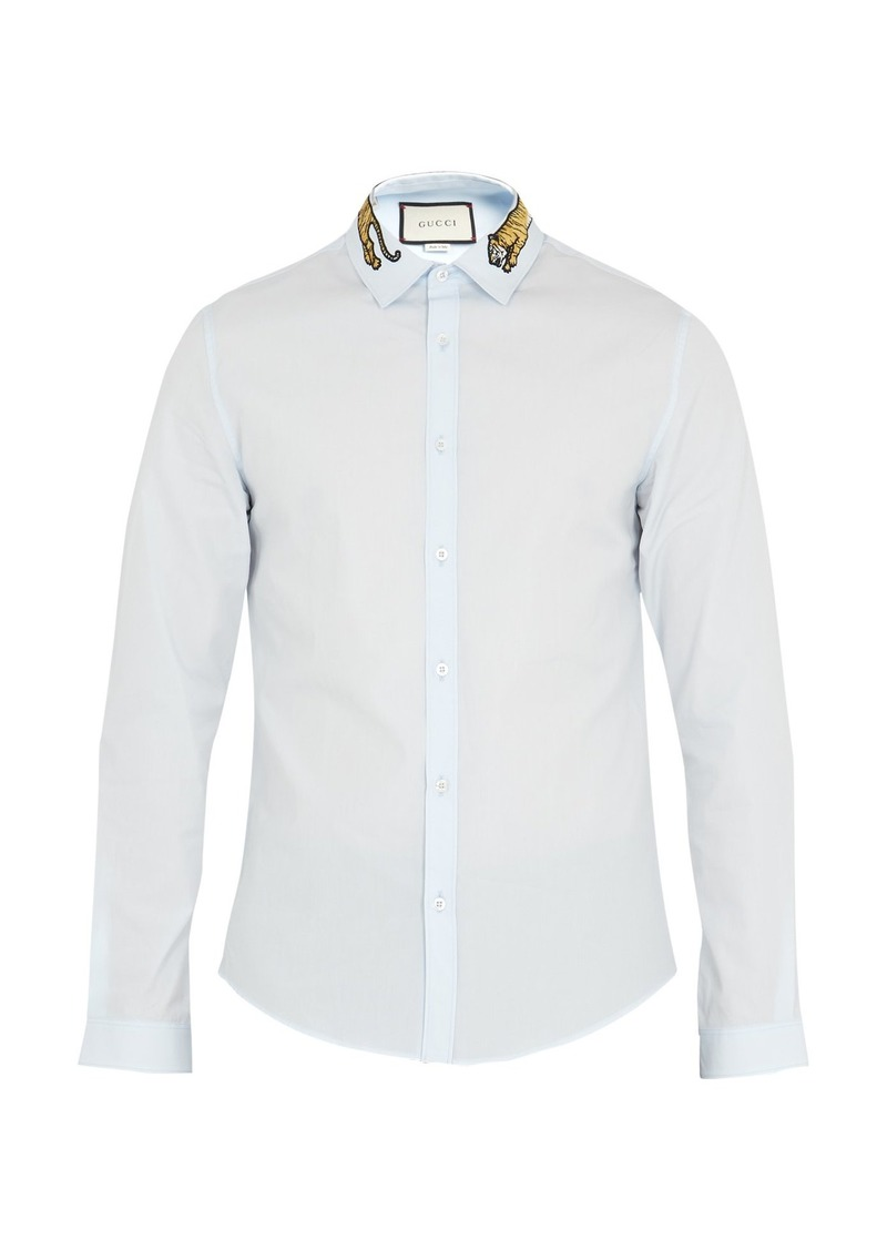 27f934c5 Gucci Gucci Duke tiger-appliqué point-collar cotton shirt | Casual ...