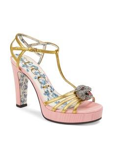 Gucci Crystal Tiger T-Strap Sandal (Women)