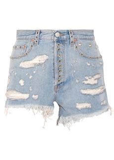 Gucci Embellished distressed denim shorts