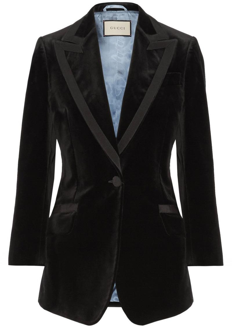 9912dc1ca Gucci Gucci Embellished grosgrain-trimmed velvet blazer | Outerwear