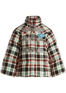 Gucci Embellished tartan wool down jacket