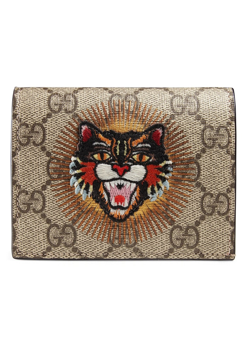 989141d49b9f Gucci Gucci Embroidered Angry Cat GG Supreme Canvas Card Case | Handbags