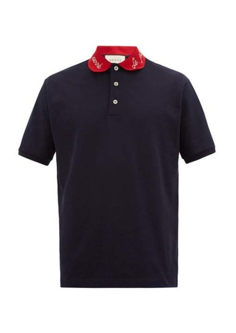 Gucci Embroidered-collar cotton-blend polo shirt