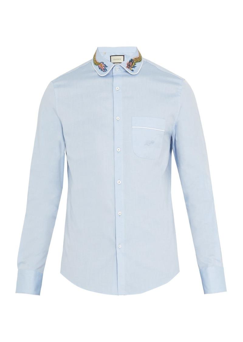 Gucci Gucci Embroidered Collar Cotton Poplin Shirt Casual Shirts