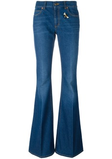 Gucci embroidered flared denim jeans - Blue