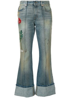 Gucci embroidered flared jeans with turned cuffs - Blue