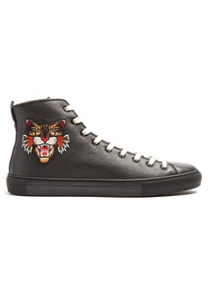 Gucci Embroidered high-top leather trainers