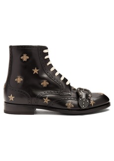 Gucci Embroidered lace-up leather brogue boots
