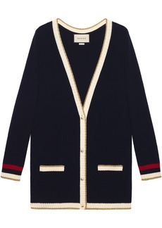 Gucci embroidered oversized knitted cardigan
