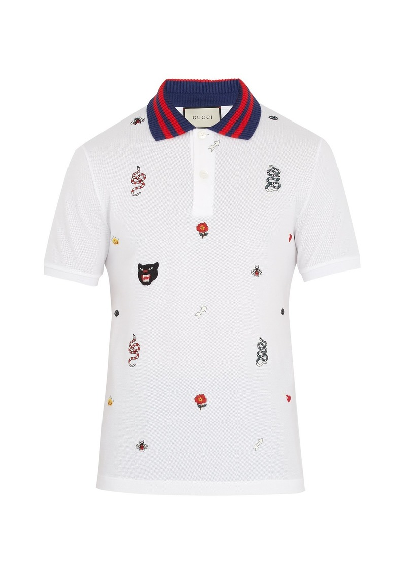 34eef151d7e38c Gucci Gucci Embroidered stretch-cotton piqué polo shirt
