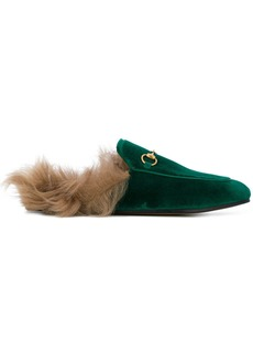 Gucci Emerald Princetown Velvet Fur Lined mules - Green