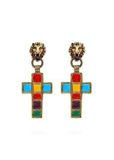 Gucci Enamelled cross clip earrings